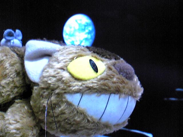 地球をバックに月を飛ぶ猫バス